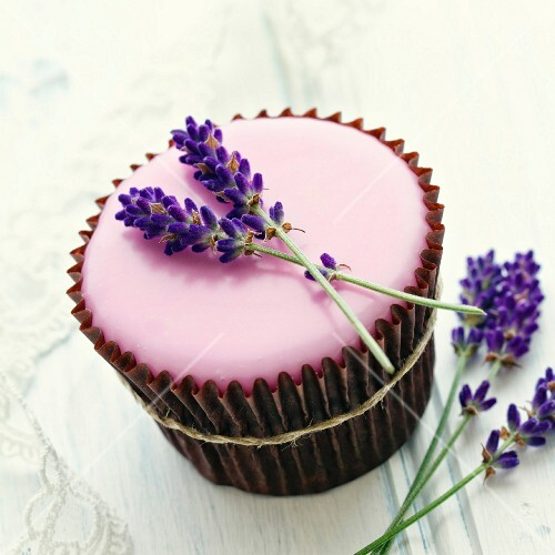 Cupcake decorated with fresh lavender