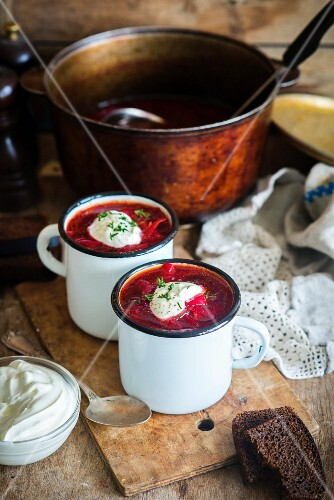 Borscht (a traditional Ukrainian and Russian beetroot soup)