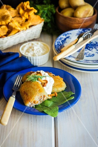 Fried potato dumplings with a minced meat & chanterelle mushroom filling on a bed of spinach leaves with sour cream