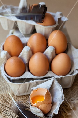 Fresh organic eggs in an egg box