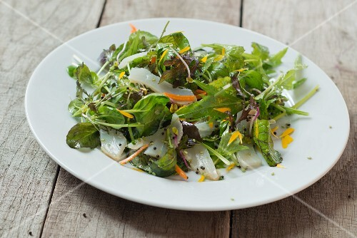 Asian salad with cured cod