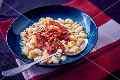 Haricot beans with chorizo