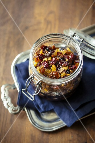 Mincemeat filing in a glass jar for Christmas