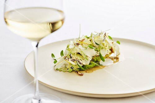 Salad and a glass of white wine