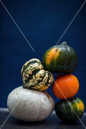 A pyramid made of different pumpkins