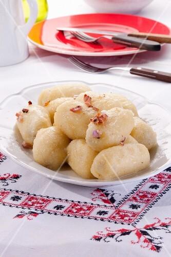 Potato dumplings filled with meat