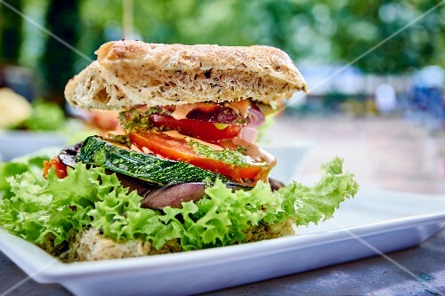 A burger with vegetables
