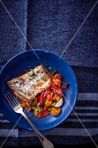 Cod with peppers