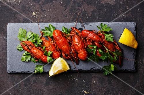 Red boiled crayfish with lemon on stone slate on dark background