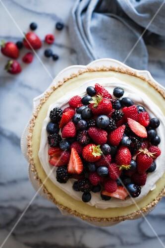 No-Bake Lemon Berry Coconut Cream Tart with fresh berries (vegan, gluten-free, refined sugar-free)