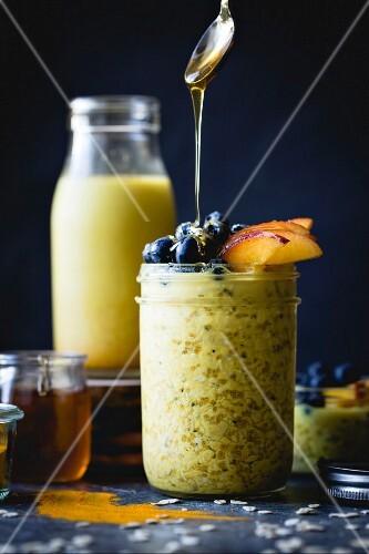 Healthy Golden milk overnight oats for breakfast (gluten-free)