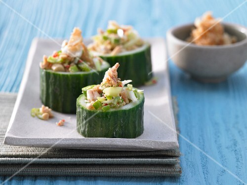 Chunks of cucumber filled with peanuts and chilli