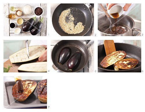 How to prepare grilled auberginge with miso sauce and sesame seeds