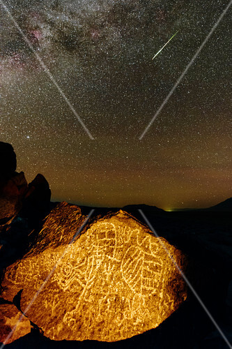 Perseid meteor over petroglyph