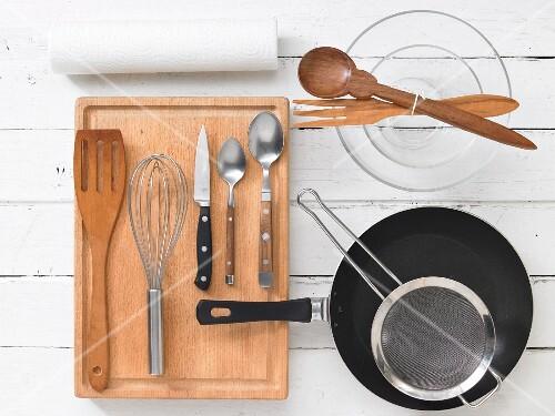 Kitchen utensils for preparing fish and salad