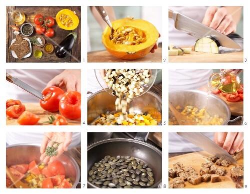 How to prepare ratatouille with pumpkin, aubergine and tomato