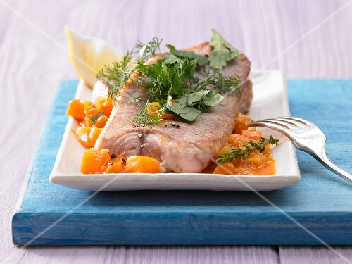 Lemon sole with herbs on apricot sauce
