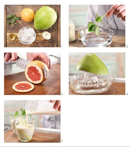 How to prepare a soja drink with citrus juice and lemon balm