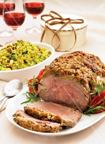 Roast lamb with a rosemary & mustard crust