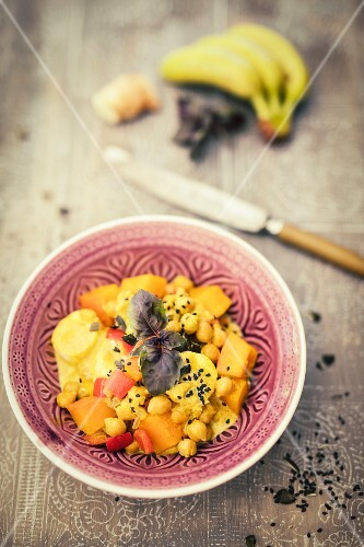Pumpkin & chickpea curry with banana