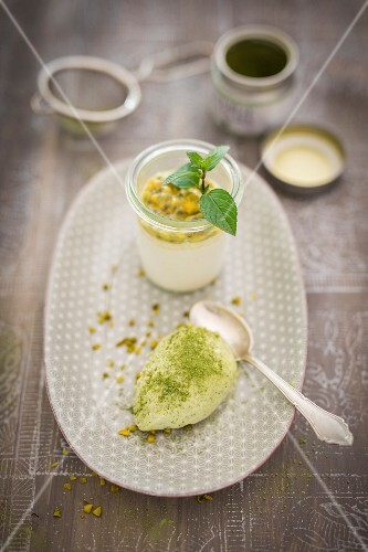 Marzipan mousse and mango parfait with passionfruit