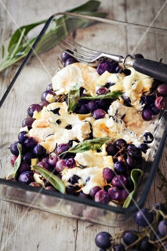 Grape & cheese bake