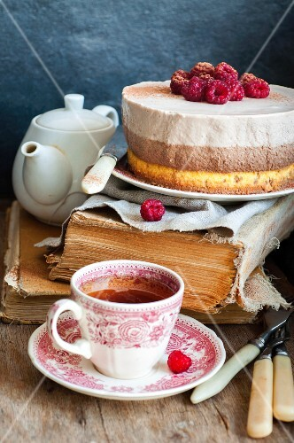 Vaniila cake with raspberry and chocolate mousses
