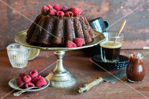 Double chocolate cake with raspberries and chocolate sauce baked into a bundt tin