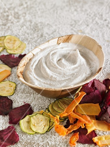 Vegan almond cream cheese and vegetable chips