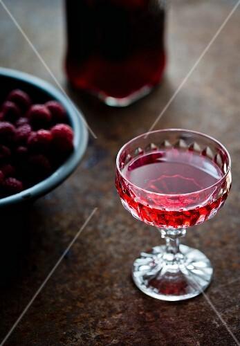 Home-made raspberry liqueur