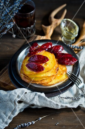 Pancakes with plums