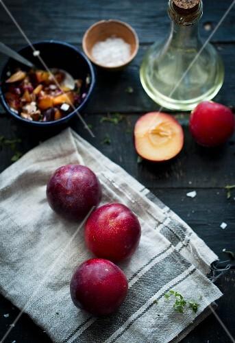 Plum salsa and fresh plums