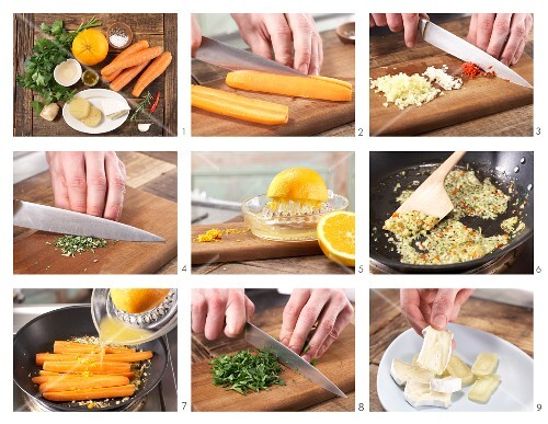 How to prepare ginger and chilli carrots with camembert and Harzer Käse (sour milk cheese)