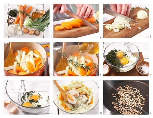 How to prepare carrot and kohlrabi gratin with herb quark