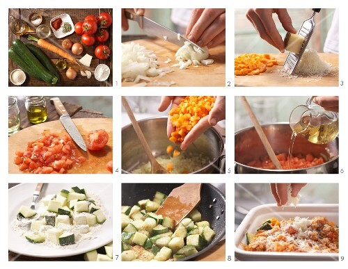How to prepare courgette and tomato bake with Manchego
