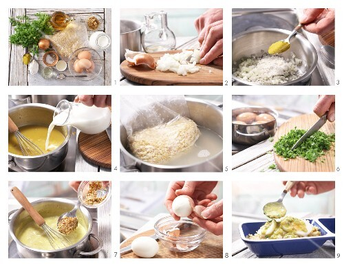 How to prepare eggs in curry and mustard sauce with wheat and fresh chervil