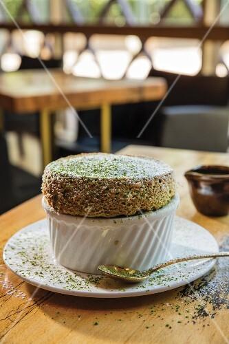 Green tea soufflé in a restaurant