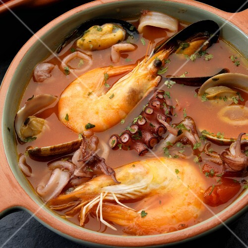 Sicilian seafood stew with prawns, mussels, calamari and octopus