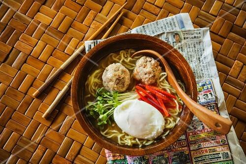 Japanese ramen noodles with chicken meatballs