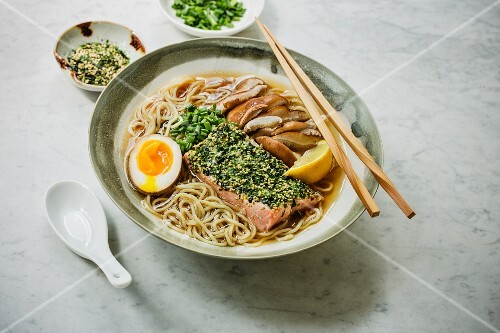 Japaense furikake ramen soup with salmon