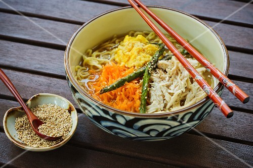 Japanese ramen soup with chicken and ginger