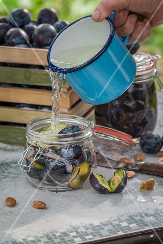 Plums being preserved in a glass jar