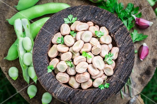 Boiled broad beans with garlic and parsley (seen from above)