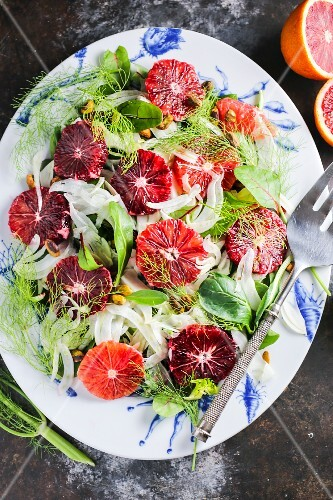 Blood orange & fennel salad (seen from above)