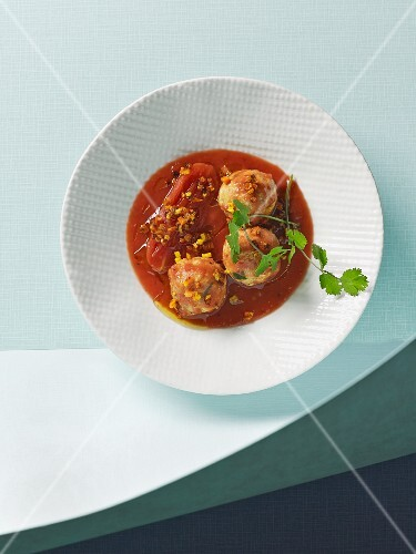 Chicken and tofu polpetti meatballs in tomato sauce