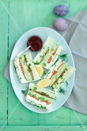 A cream cheese and pea terrine with smoked salmon and cucumber for Easter