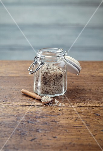 Vanilla and lavender salt in a glass jar with a swing-top