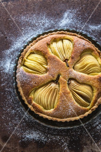 Frangipan and pear tart (seen from above)