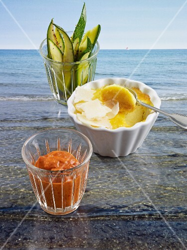 Parmesan brûlée with courgette sticks and tomato dip