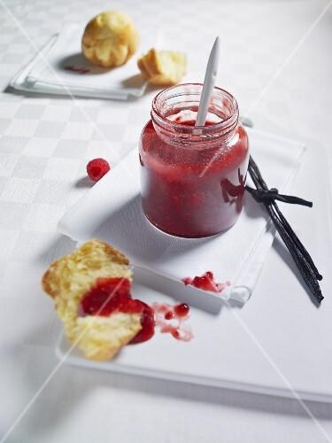 Strawberry and raspberry jam and brioche